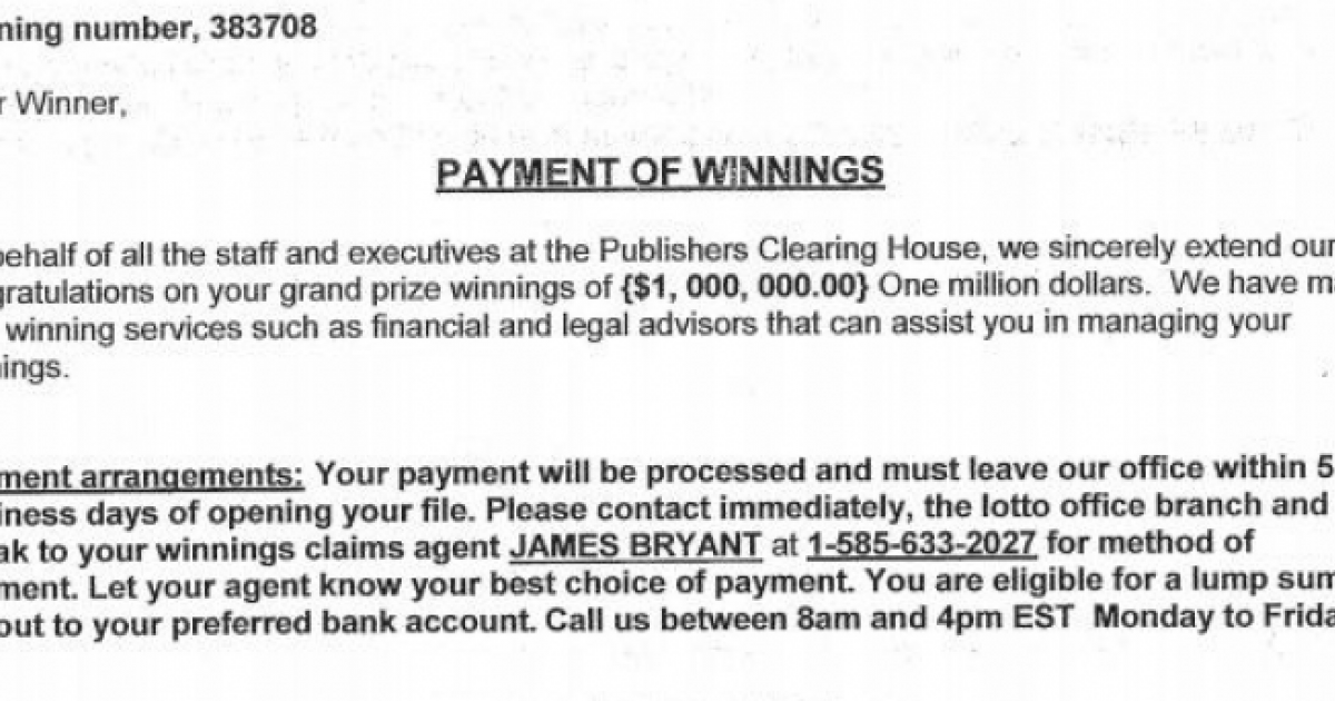Cumberland Police Dept: This Letter from Publisher's Clearing House