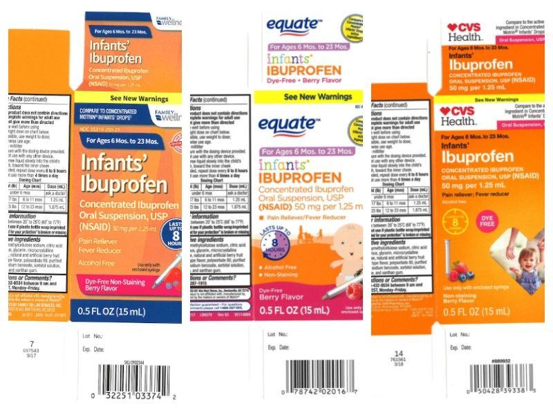 Infant ibuprofen sold at Walmart, Family Dollar and CVS recalled